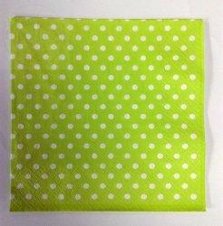 Serwetki stołowe 33x33cm zielone w białe kropeczki