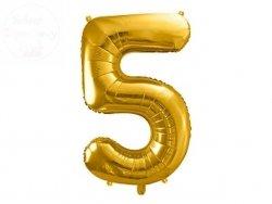 Balon foliowy  86 cm złoty cyfra 5