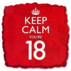 Balon  foliowy  Keep Calm You're only 18 (45cm)