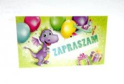 Zaproszenie na urodzinki  Smok z kopertą 1szt