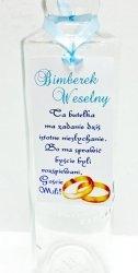 Zawieszka Bimberek weselny z błękitną tasiemką