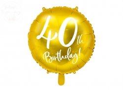 Balon foliowy okrągły złoty 40-ste urodziny 45cm