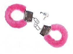 Kajdanki różowe z futerkiem 1op KJD-081