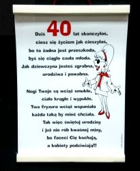 Dyplom pamiątkowy  dla 40-latki