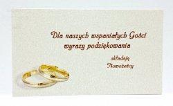 Bilecik podziękowanie ślubne kremowe  1szt