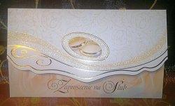 Zaproszenie ślubne z obrączkami i brokatem 1szt