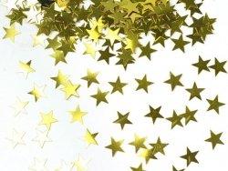 Konfetti metalizowane złote gwiazdki 10mm, 30g