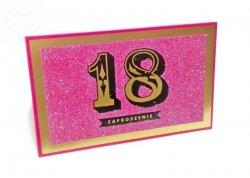 Zaproszenie na 18 urodziny  Brokat Różowy