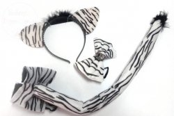 Zestaw ZEBRA: opaska, muszka i ogonek