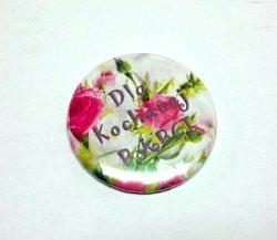 Magnez button  Kochanej Babci   róże 1szt