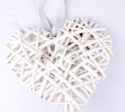 Serce ratanowe pełne białe  15 x 15 cm
