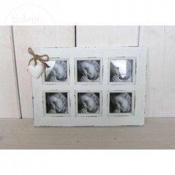 Ramka foto biała z serduszkiem na 6 zdjęć
