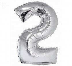 Balon foliowy srebrna Cyfra 2  85 cm
