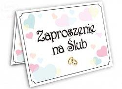 Zaproszenie na Ślub  Kolorowe Serduszka - 1szt