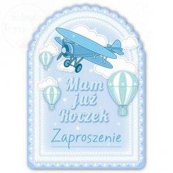 Zaproszenie na roczek niebieski samolocik 1 szt