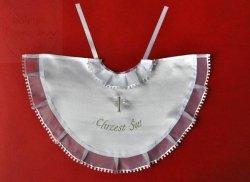 Szatka pelernyka do chrztu biała + srebrny haft