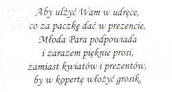 Wkładki do zaproszeń  Grosik   25 szt