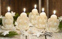Świeczka Aniołek z brokatem - ecri