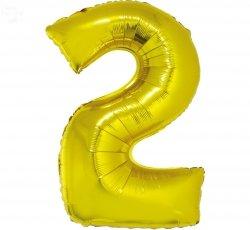 Balon foliowy złoty Cyfra 2 85 cm