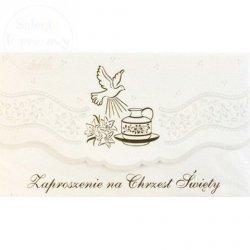Zaproszenie na Chrzest  Elegance 1szt białe