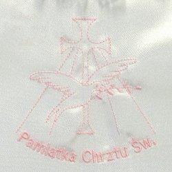Szatka pelerynka do chrztu z różowym haftem 1sz