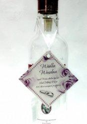 Zawieszki na wódkę weselną z białą tasiemką 20szt