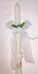 Kokarda ażurowa z kwiatkiem do świecy 1 szt