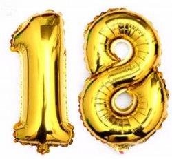 Balon foliowy złoty Cyfra 18  - 85 cm