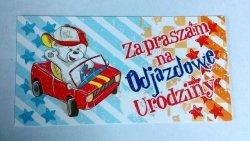 Zaproszenie na Odjazdowe urodziny Miś w samochod
