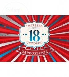 Zaproszenie 18 urodziny Czerwone Paski   1 szt