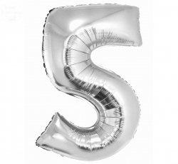 Balon foliowy srebrna Cyfra 5  85 cm