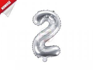 Balon foliowy Cyfra 2 - 35 cm srebrny