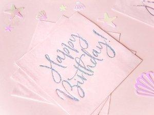 Serwetki jasny pudrowy róż Happy Birthday