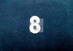 Cyferka drewniana biała 8 - 1szt