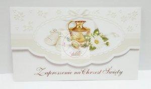 Zaproszenie na Chrzest  Kremowe Buciki  1szt