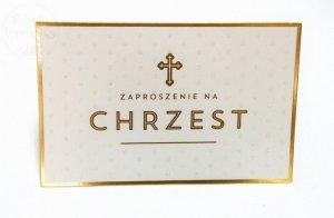 Zaproszenie na Chrzest z brokatem  - 1szt