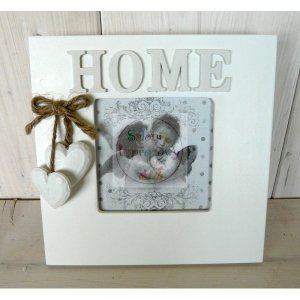Ramka foto biała z napisem HOME +  serduszka