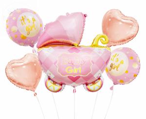 Balony foliowe zestaw Wózek różowy