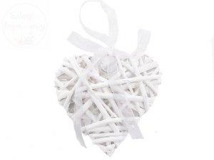 Serce ratanowe pełne białe 8 x 8 cm