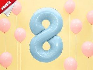 Balon foliowy cyfra 8 błękitna - 86 cm