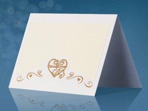 Wizytówki na stół białe  Serduszko Złote - 25szt