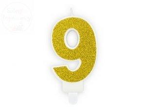 Świeczka urodzinowa cyferka 9 złota z brokatem