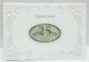 Zaproszenie 25 Rocznicę Ślubu 1 szt