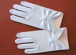 Rękawiczki komunijne  Marszczona Różyczka połysk