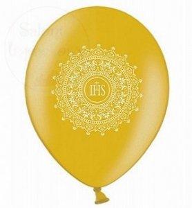 Balony komunijne złote z nadrukie IHS 1szt