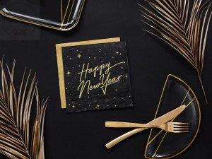 Serwetki czarne z napisem Happy New Year