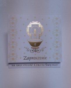 Zaproszenie na Chrzest Święty - złote 1szt