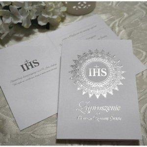 Zaproszenie ze srebrnym IHS na I Komunię Świętą