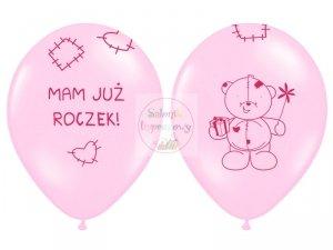 Balony 14cali różowe Miś - mam już roczek
