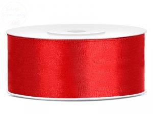 Tasiemka satynowa czerwona 25mm/25m
